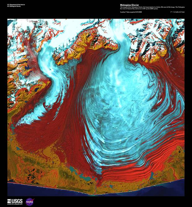 Ледник Маласпина, 1 августа 2000 год