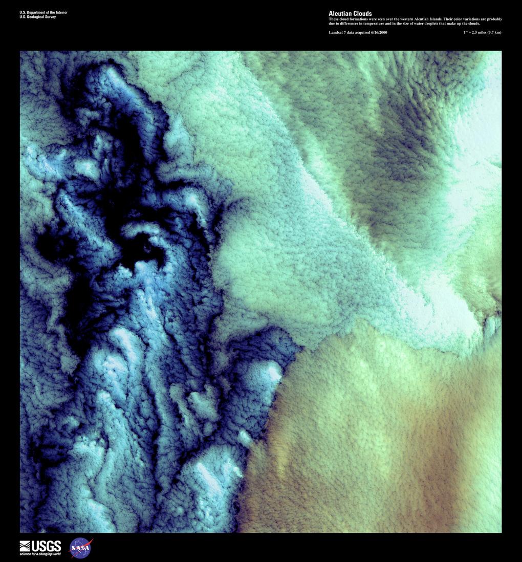 Облака над Алеутскими островами, 1 июня 2000 год