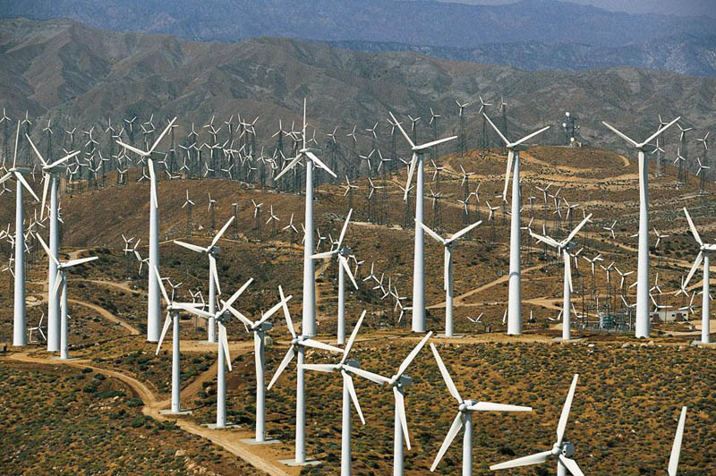 Windmills, blocking the way near Palm Springs, California, United States