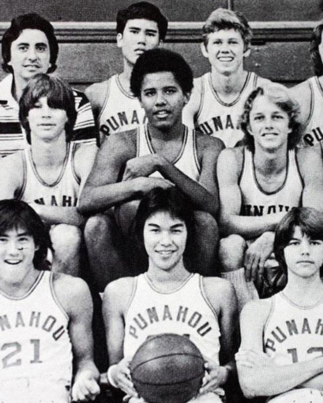 Барак Обама и баскетбольная команда его средней школы