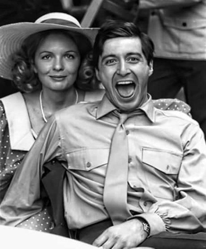 Дайан Китон и Аль Пачино на съёмках фильма «Крёстный отец» в 1972 году