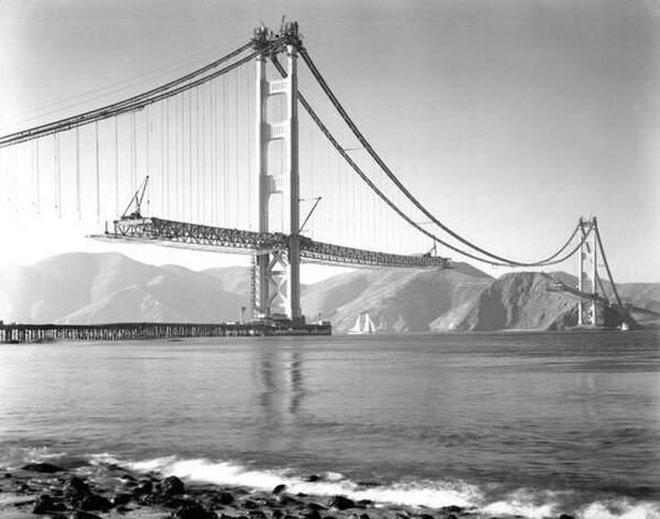 Строительство моста Золотые Ворота в 1937 году