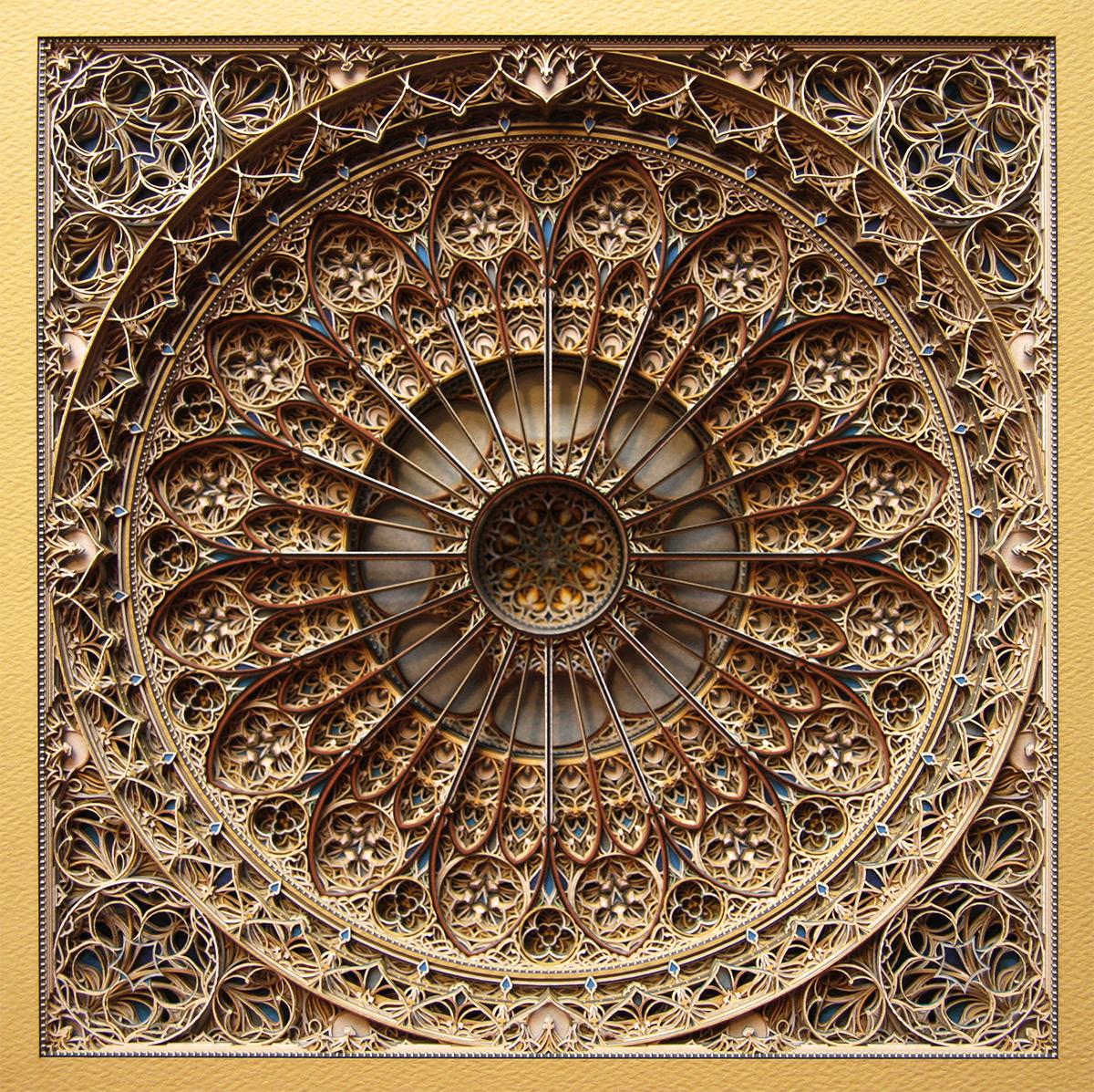Готическая геометрия в бумажных витражах Эрика Стэндли