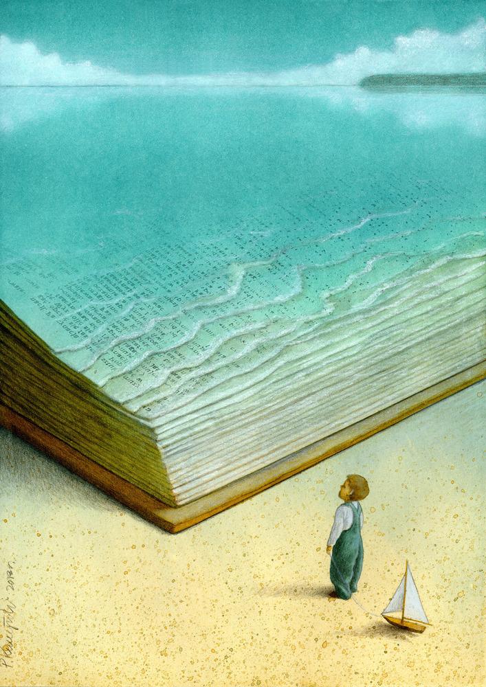 Книга и море рисунок