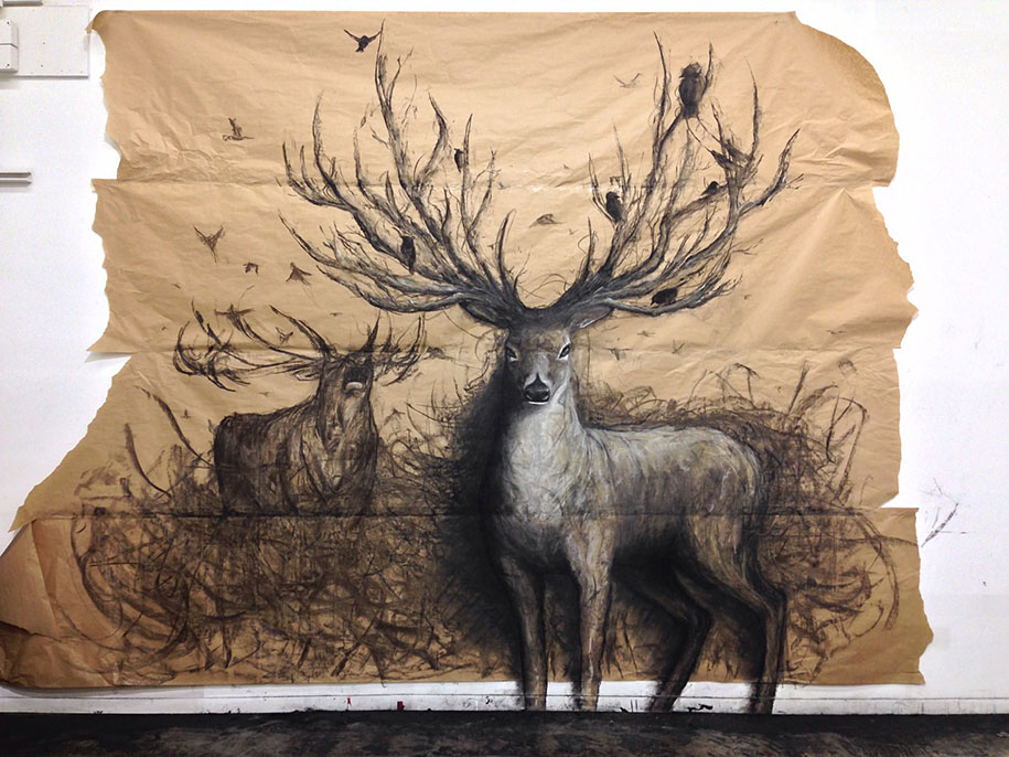 These Dark 3D Drawings Pop Out Of Paper As Life-Sized Animals