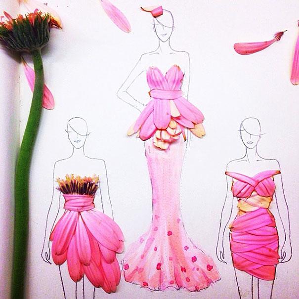 Эскизы модной одежды из цветочных лепестков от Грейс Чао