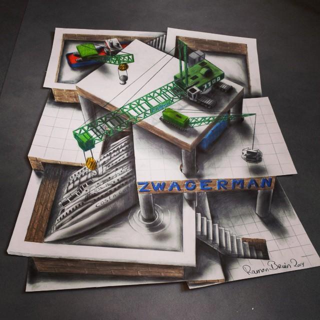 Многоуровневые иллюзии в 3D рисунках Рамона Брюина - 7