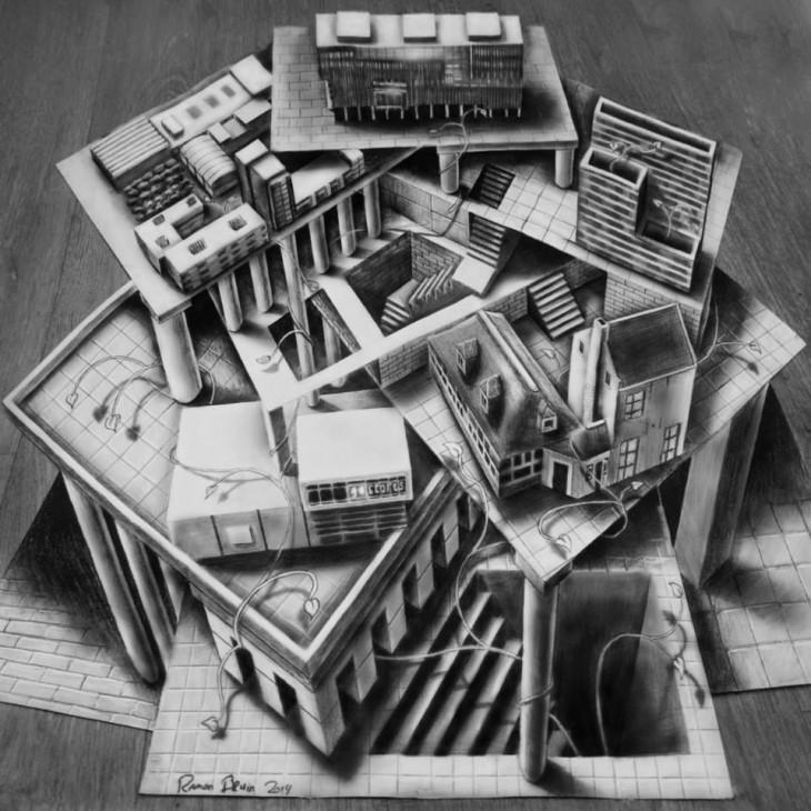 Многоуровневые иллюзии в 3D рисунках Рамона Брюина - 2