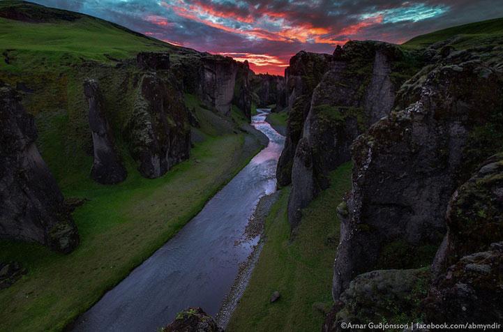 Фьядрарглйуфур - красивый каньон в Исландии