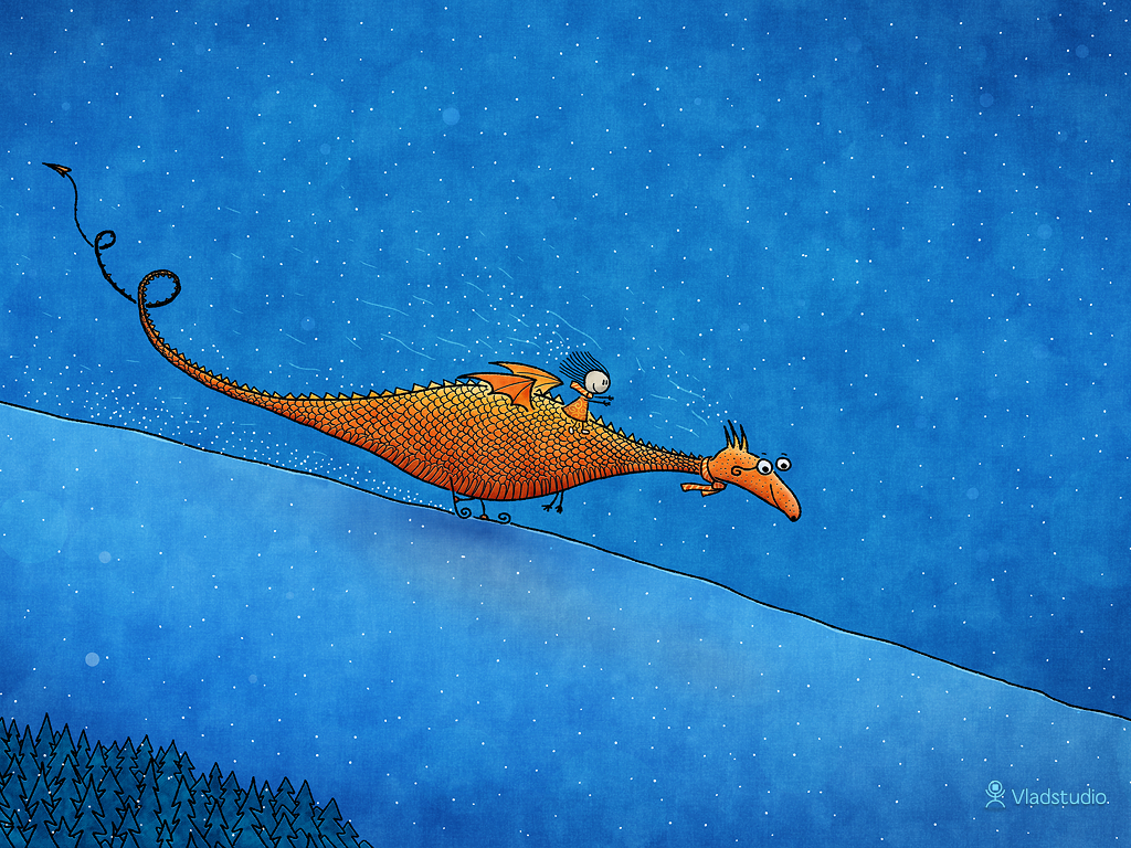 03-vladstudio alice dragon skiing 1024x768 signed