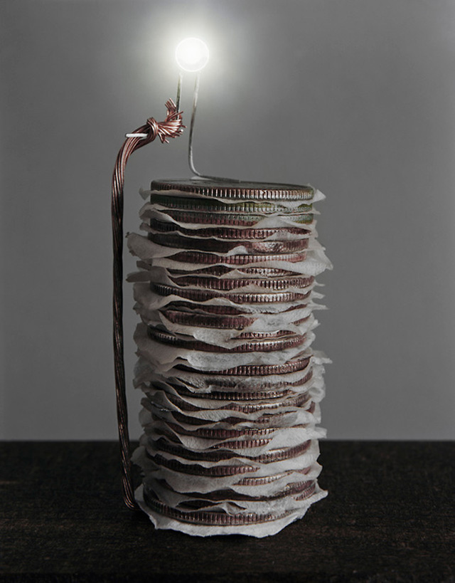 Photographer Caleb Charland Wires Apple Trees, Fruit Baskets and Stacked Coins to Create Alternative Batteries