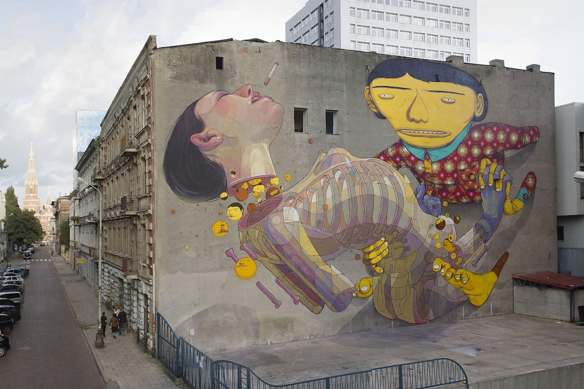 By Os Gemeos and Aryz at Urban Forms Gallery in Lodz, Poland