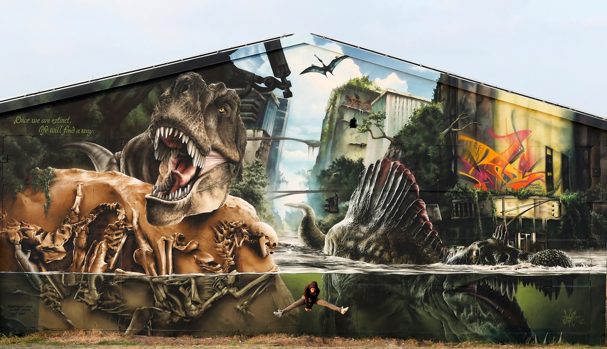 Jurassic Park wall by Mad C in Germany