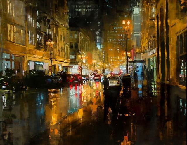 Неспящий город в масляной живописи Джереми Манна