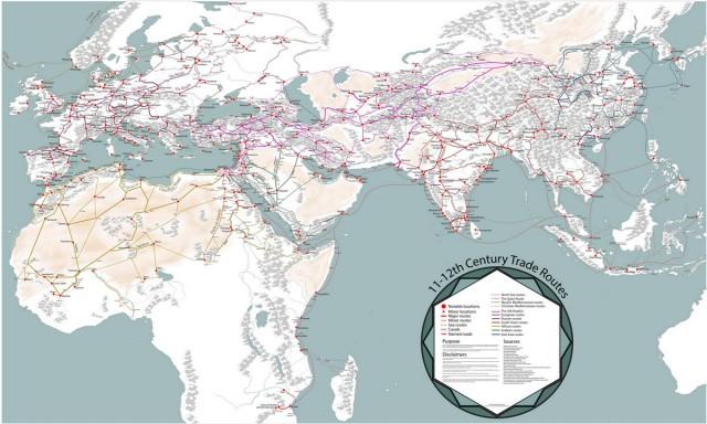 Невероятно подробная карта торговых путей времён Высокого Средневековья