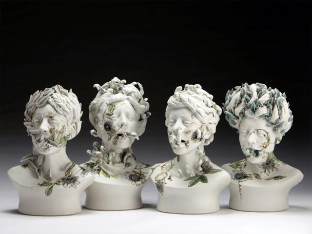Керамические лица, заросшие растительностью, от Джесс Рива Купер