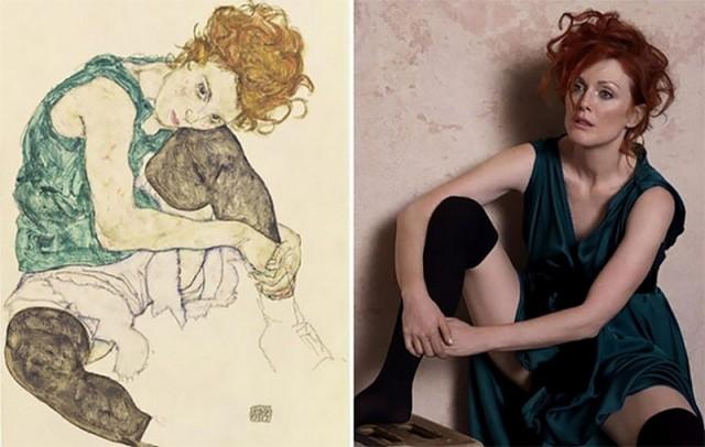 Джулианна Мур в образе героинь знаменитых картин