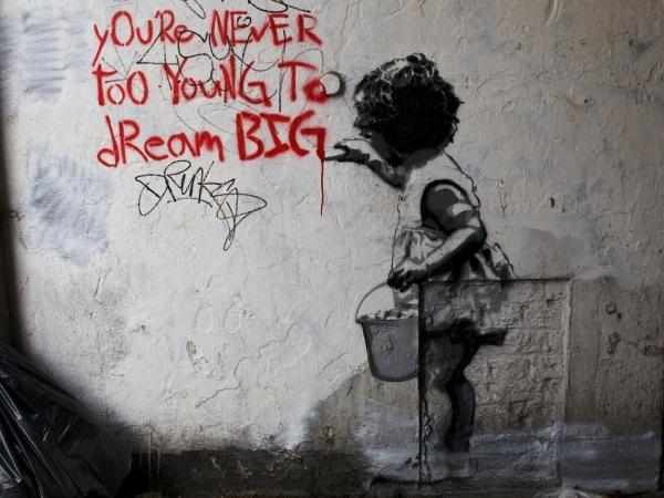 Мечтам все возрасты покорны в уличном искусстве Лондона, Великобритания
