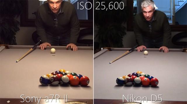 Сравнение фотоаппаратов Nikon D5 и Sony a7R II при ISO 3 276 800