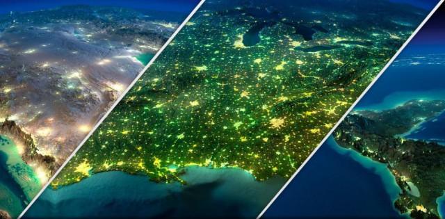 Объемная карта рельефа Земли в ночное время