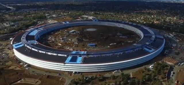 В видео с дрона показали грандиозный комплекс Apple Campus 2