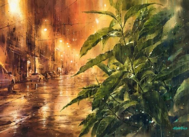 Дождь в большом городе. Акварельные картины Лина Чинг Че