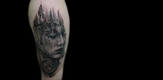 Татуировки с архитектурными элементами и морфинг-эффектами от Тони Мансья