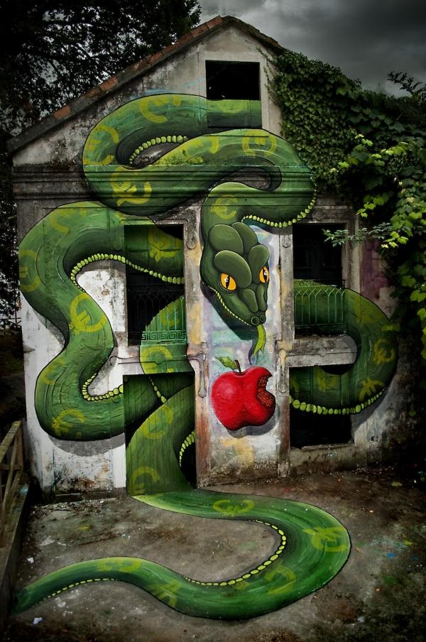 Креативный стрит-арт в Ордес, Галисия, Испания (Ordes, Galiza)