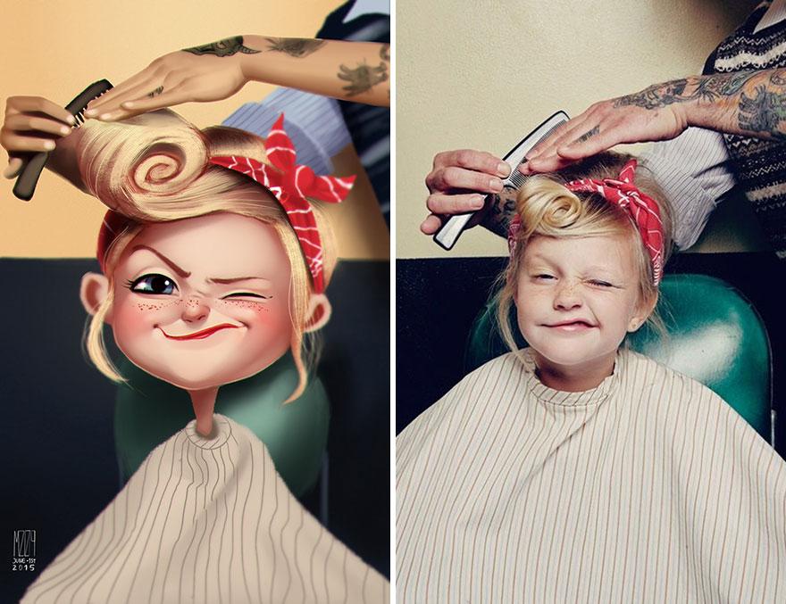 Художник Хулио Сезар превращает фотографии случайных людей в симпатичные иллюстрации-11