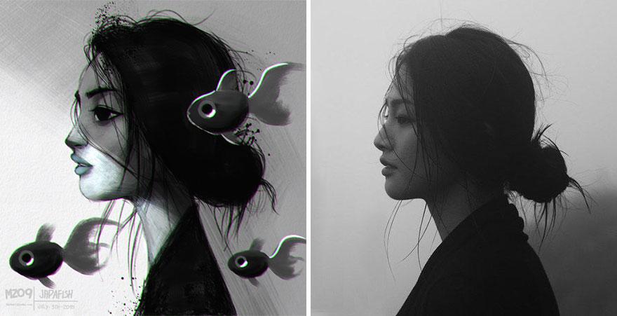 Художник Хулио Сезар превращает фотографии случайных людей в симпатичные иллюстрации-12
