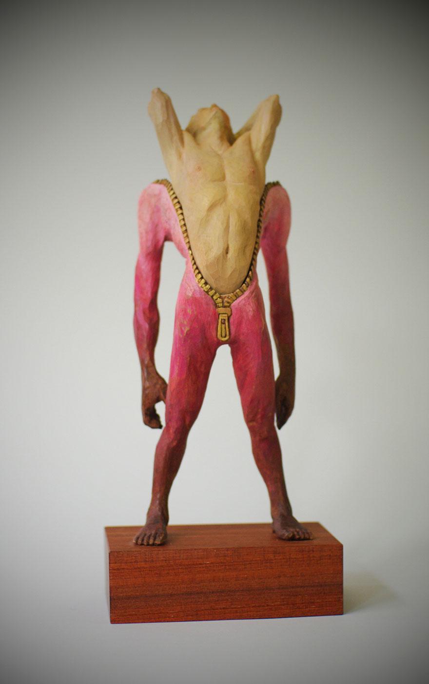 Сюрреалистические деревянные скульптуры Йошитоши Канемаки-16