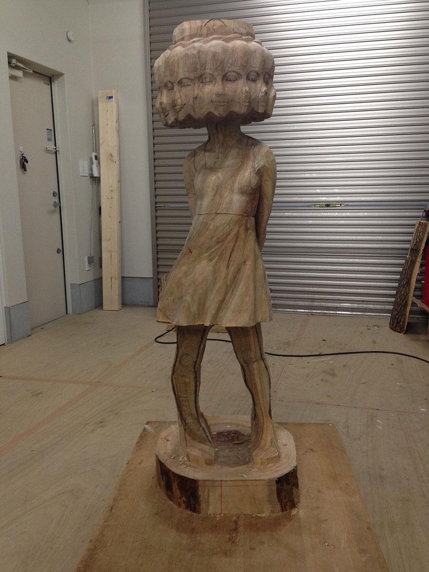 Сюрреалистические деревянные скульптуры Йошитоши Канемаки-7