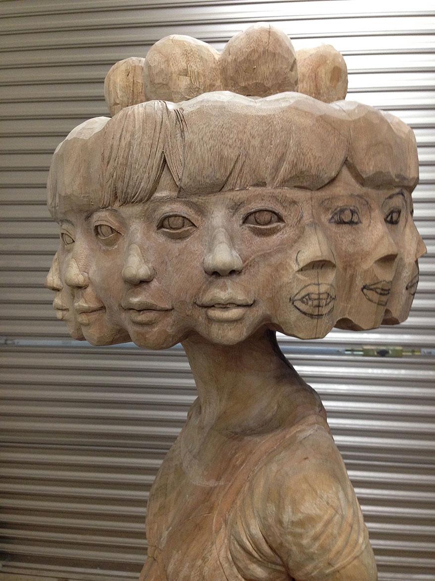 Сюрреалистические деревянные скульптуры Йошитоши Канемаки-8