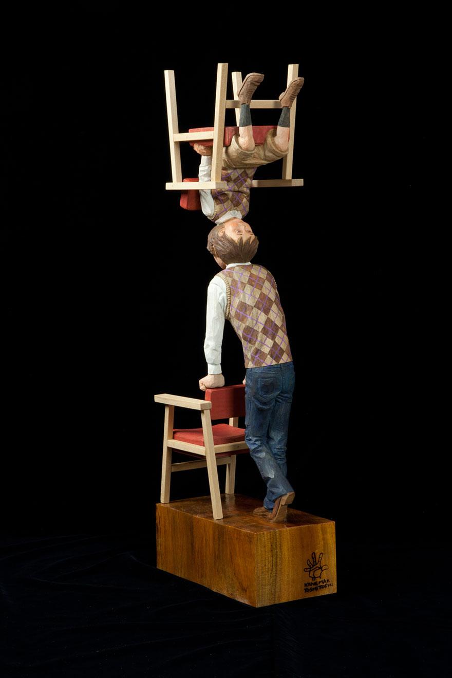 Сюрреалистические деревянные скульптуры Йошитоши Канемаки-15