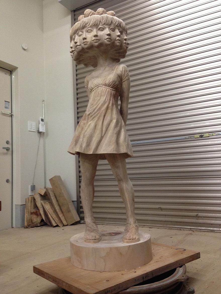 Сюрреалистические деревянные скульптуры Йошитоши Канемаки-9