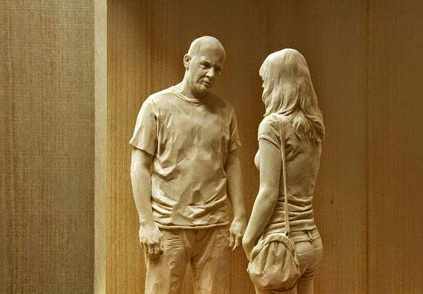 Невероятно реалистичные деревянные скульптуры людей-6