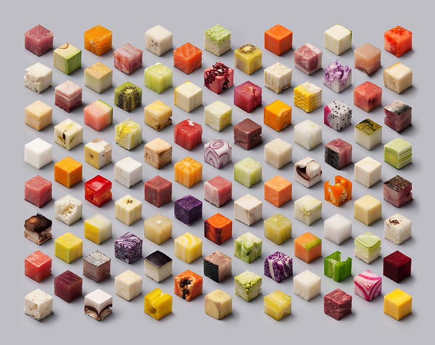 Художники нарезали еду на 98 совершенных кубов, чтобы вызвать аппетит у перфекционистов-1
