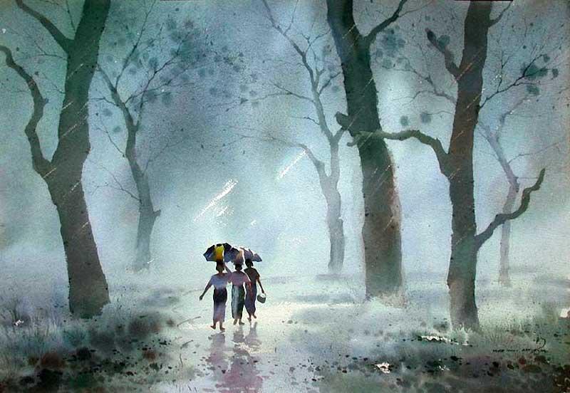 Акварельные картины художник Мьё Вин Онг 28