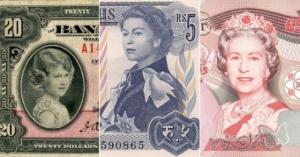 15 банкнот с изображением королевы Елизаветы в возрасте от ребенка до пожилой женщины