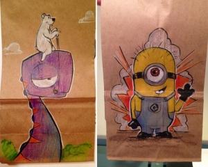 Увлекательные персонажи из мультфильмов на бумажных пакетах