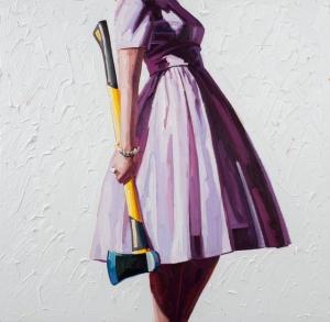 Шикарные платья и бытовые инструменты. Картины Келли Римтсен о современной женственности