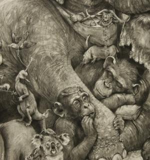 Детализированные фрески с миролюбивыми животными Адонны Кхаре (Adonna Khare)