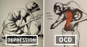 Художник иллюстрирует психические заболевания и расстройства для Inktober