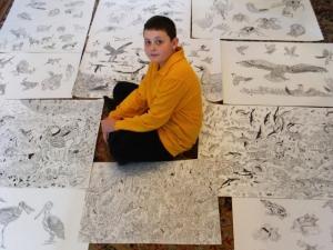 Одиннадцатилетний художник-вундеркинд рисует фантастические картины