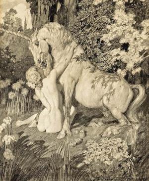 Прелестные нимфы, козлоногие обольстители и демоны в картинах Нормана Линдсея