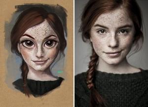 Художник Хулио Сезар превращает фотографии случайных людей в симпатичные иллюстрации