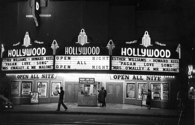 Голливудский кинотеатр в Лос-Анджелесе, Калифорния, 1951. Автор Курт Хаттон