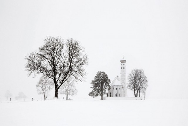 Trees and church, Bavaria, 2017. Author Christoph Jacques