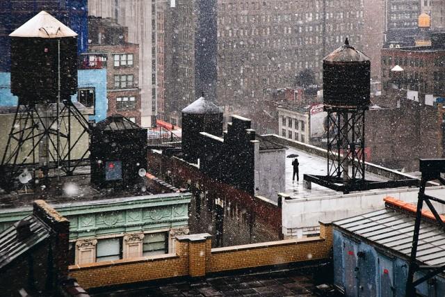 На обледеневшей крыше, Нью-Йорк. Автор Кристоф Жакро
