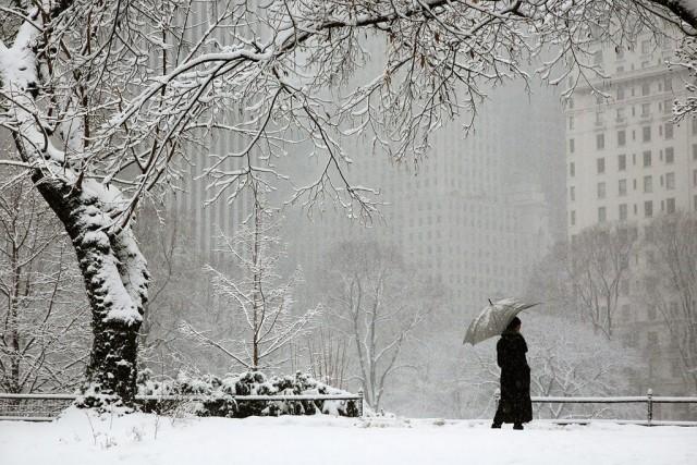 Леди и снег, Нью-Йорк, 2015. Автор Кристоф Жакро